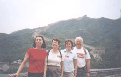 The Becks at the top of the Great Wall of China.