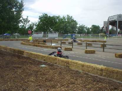 A go-kart approaching a hairpin.