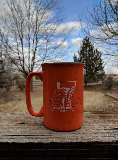 For coming in second in division, the Groundhog Day Marathon organizers sent me this mug.