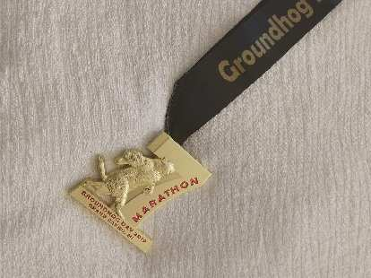 The finishers' medal for the 2019 Groundhog Day Marathon.