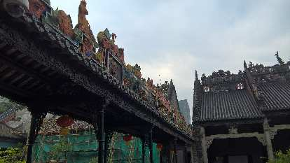 Exquisite rooftops at the Chen Clan Ancestral Hall in Guangzhou, China.
