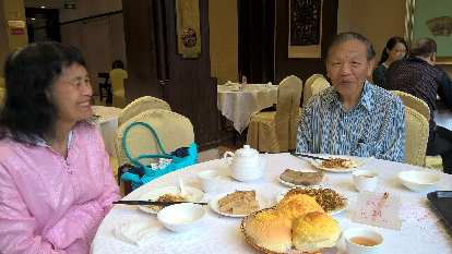 My mom and dad (and I) having dim sum at Tao Tao Ju Restaurant in Guangzhou, China, where his dad once took him for breakfast when he was a kid.