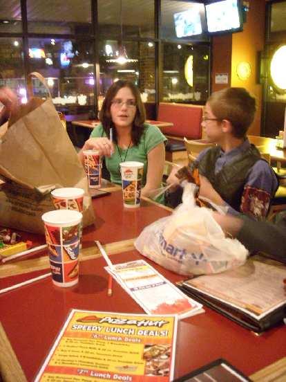 Crystal and Cody at Pizza Hut.