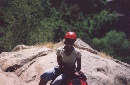 My lovable climbing partner Kristina, ready to climb.