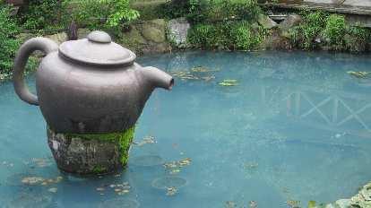Giant tea pot outside a Longjing tea plantation.