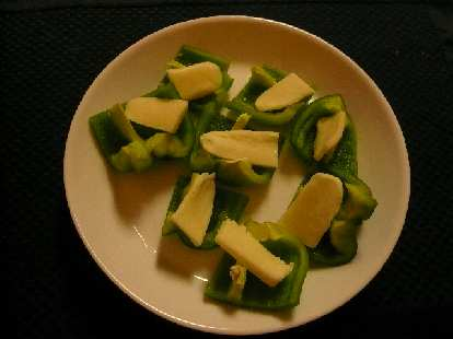 Green bell peppers with Monterey Jack cheese.  A nice snack.