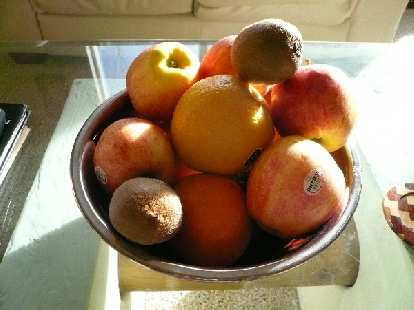 My ever-present fruit bowl.  I seem to go through one of these every week.