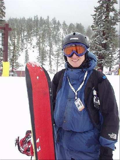 Carlos had his snowboard....