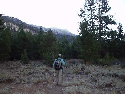 """8:40 a.m.: """"Where did the trail go?""""  Following Adam towards the peaks for many miles off-trail."""