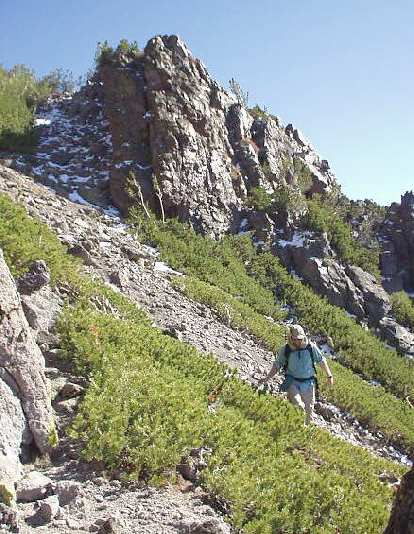 3:12 p.m.: After Highland Peak, we had to do some Class 3 downclimbing to the saddle between Highland and Silver Peaks.