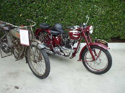 On hand were also a number of motorcycles, including the vintage Polk on the left, and the very nice '46 Triumph Bonneville on the right.