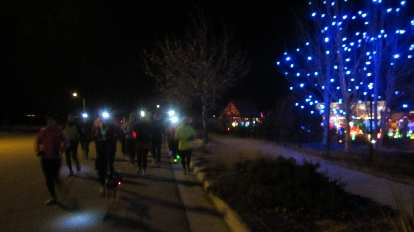 Running during the Fort Collins Running Club's Holiday Lights Run.