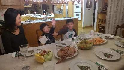 My nephews during a Christmas Day dinner.