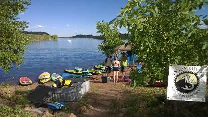 Paddleboards and yogis at Horsetooth Reservoir's Satanka Cove.