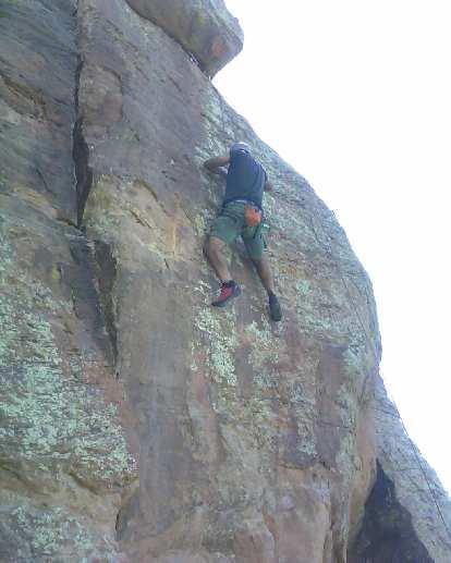 Mehdi climbing a 5.10 at Rotary Park.