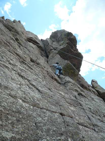 Now at Duncan Ridge, Felix Wong on a 5.7 crack.