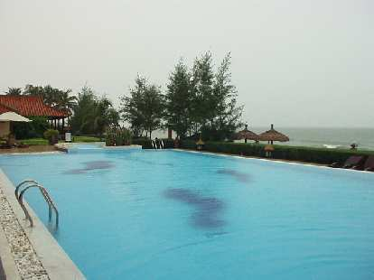 In Mui Ne, we stayed at this resort with a 25-meter pool and a private beach.