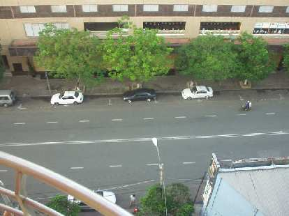 View of the street from outside the Hai Long I Hotel room.