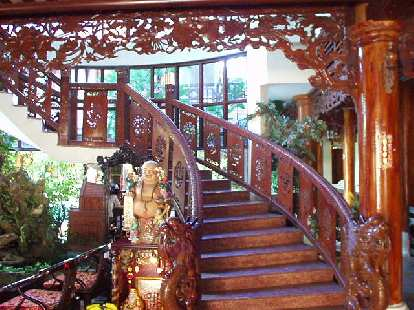 Ornate staircase at Thanh Bin III.  Not bad for a hotel where rooms cost $20ight!