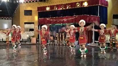 Indigenous people putting on a dance performance in the Xincheng Township of Hualien County, Taiwan.