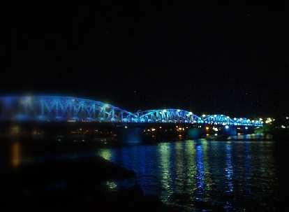 Lighted up bridge on the Perfume River.