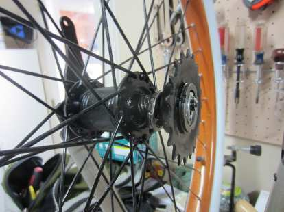 Disassembling the rear hub to insert more grease and adjust the play.