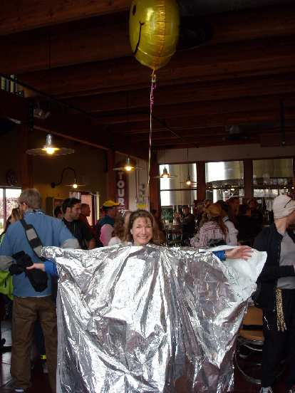 "Connie dressed up as ""Balloon Girl"" and won the Best Costume contest at New Belgium Brewery."