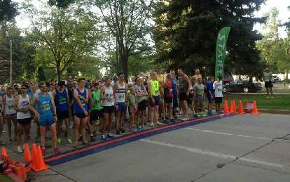 Lining up at the start of the Human Race. Note all the youngsters here.