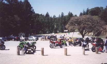 After climbing in the morning, I stop at the corner of Skyline Blvd. and CA-9 to buy a hot dog and talk with some biker dudes.