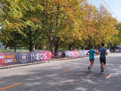 Runners in Prater Park along the INEOS 1:59 Challenge course.