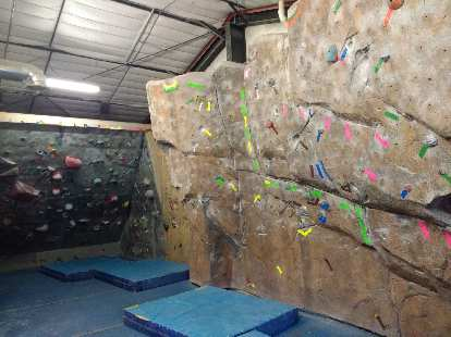 The bouldering cave upstairs at Inner Strength Rock Gym.