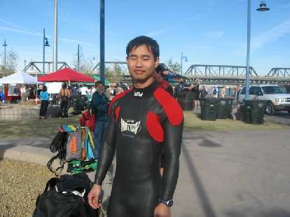 Felix Wong in his Pro-Motion wetsuit for the first time in a year.