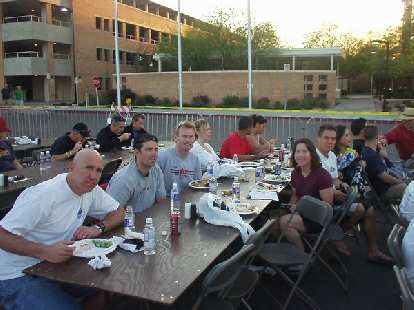 Here we are at the official pasta feed the Friday before the race.  You can see Russ, Josh, Bob, Sharon, Todd, and Bic in this photo.