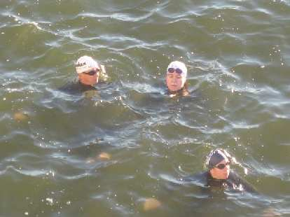 JC, Phil and Sharon treading water.