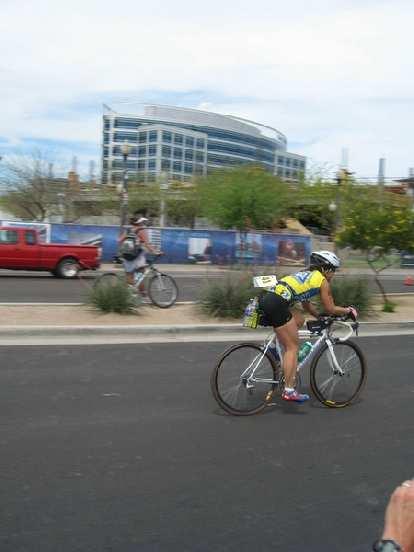 Bic on the bike.