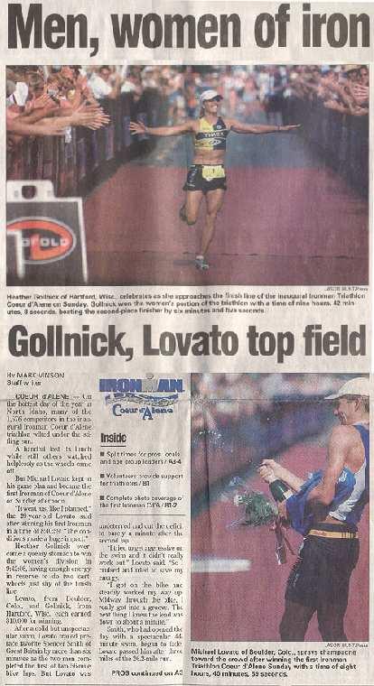 newspaper headline Men, women of iron, Gollnick, Lovato top field