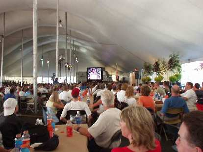 During the athletes' banquet, inspirational videos and speeches were shown.  Lots of energy here!