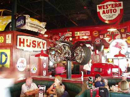 Auto memorabilia galore with hot rods and even motorcycles all over the shop... er, restaurant.  This is a must-see place for an auto enthusiast in the inland northwest!