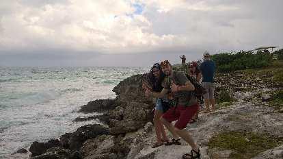 Carolina, Alberto François, Yesenia, Julian Ganton, coast, Isla Mujeres, thumbs up