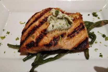 Salmon at the excellent Manship Restaurant in Jackson, Mississippi.