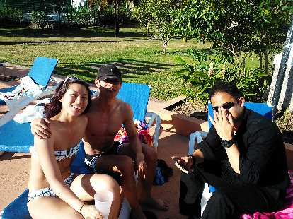 Jenn, Felix Wong and Paris at the pool.