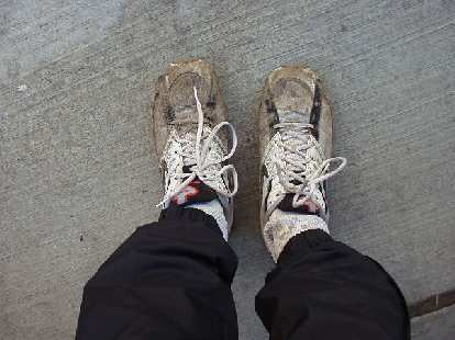 One reason it was such slow going was much of the course was slogging through or jumping around thick mud and deep puddles.  These were my shoes afterwards... actually was kind of cool, like an adventure race!