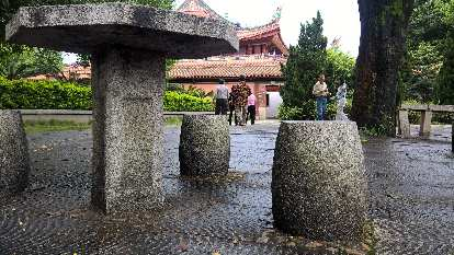 Stone seats and table at the Kaiyuan Temple in Quanzhou, China.
