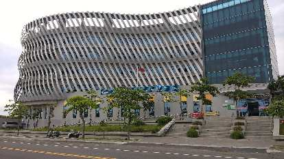 Cijin District Office across the street from the Cijin Windmill Park in Kaohsiung City, Taiwan.