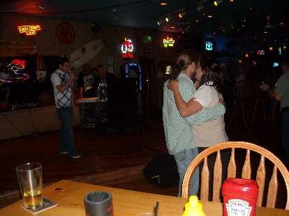 Nick and the birthday girl dancing.