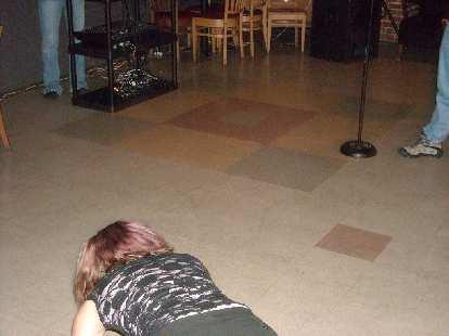 "Tanya doing pushups to ""Eye of the Tiger."""
