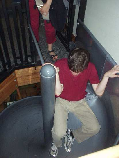 Guy going down the slide at the NBBC.