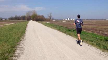 Felix Wong running northeast on the Katy Trail, a couple miles from St. Charles.