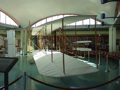 This is a full-size replica of the plane the Wright Brothers successfully flew on Dec. 17, 1903 four times.  Supposedly, this replica is exacting in detail and is capable of its own flight.