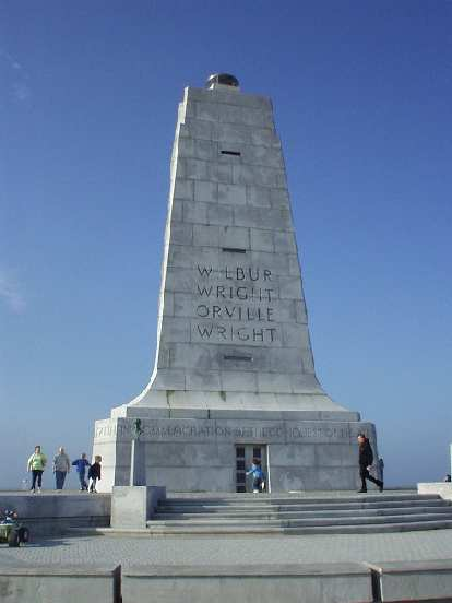 This monument sits across the hill the Wright brothers jumped off of hundreds of times with their hanggliders.